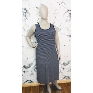 Calvin Klein Sleeveless Striped Maxi Dress NEW
